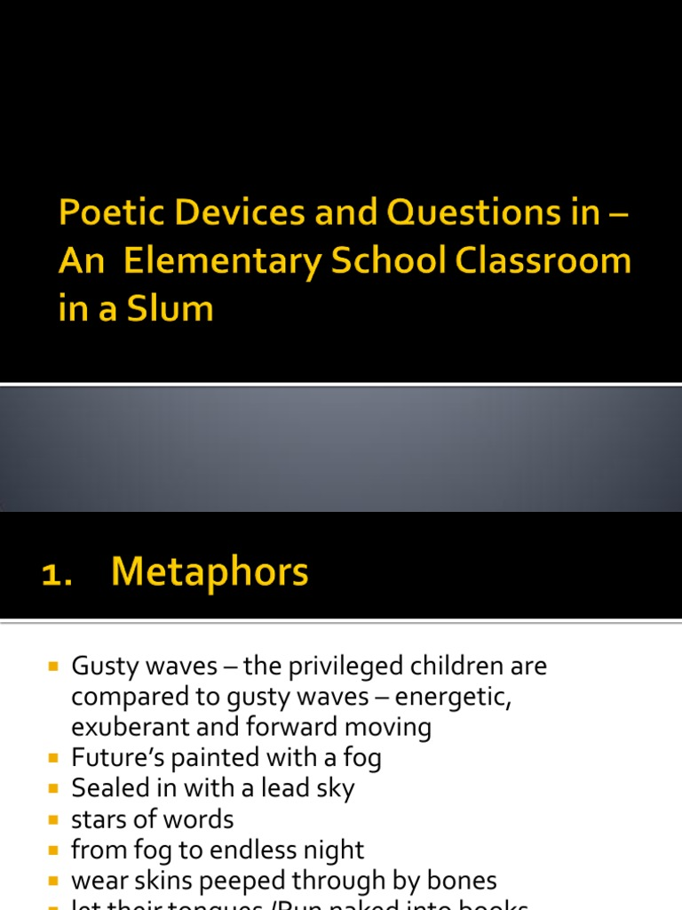 Poetic Devices In An Elementary School Classroom
