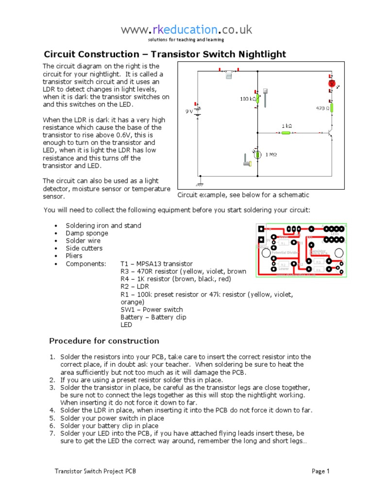 Circuit Construction Transistor Switch Diagram