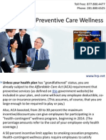 ACA Pushes Preventive Care Wellness