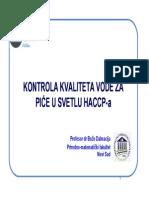 HACCP-Kontrola Kvalititeta Vode Za Pice