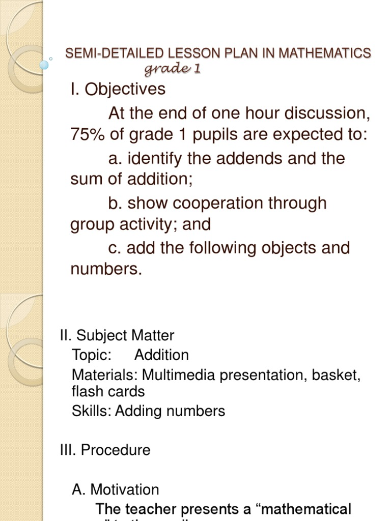 detailed lesson plan in math grade 1