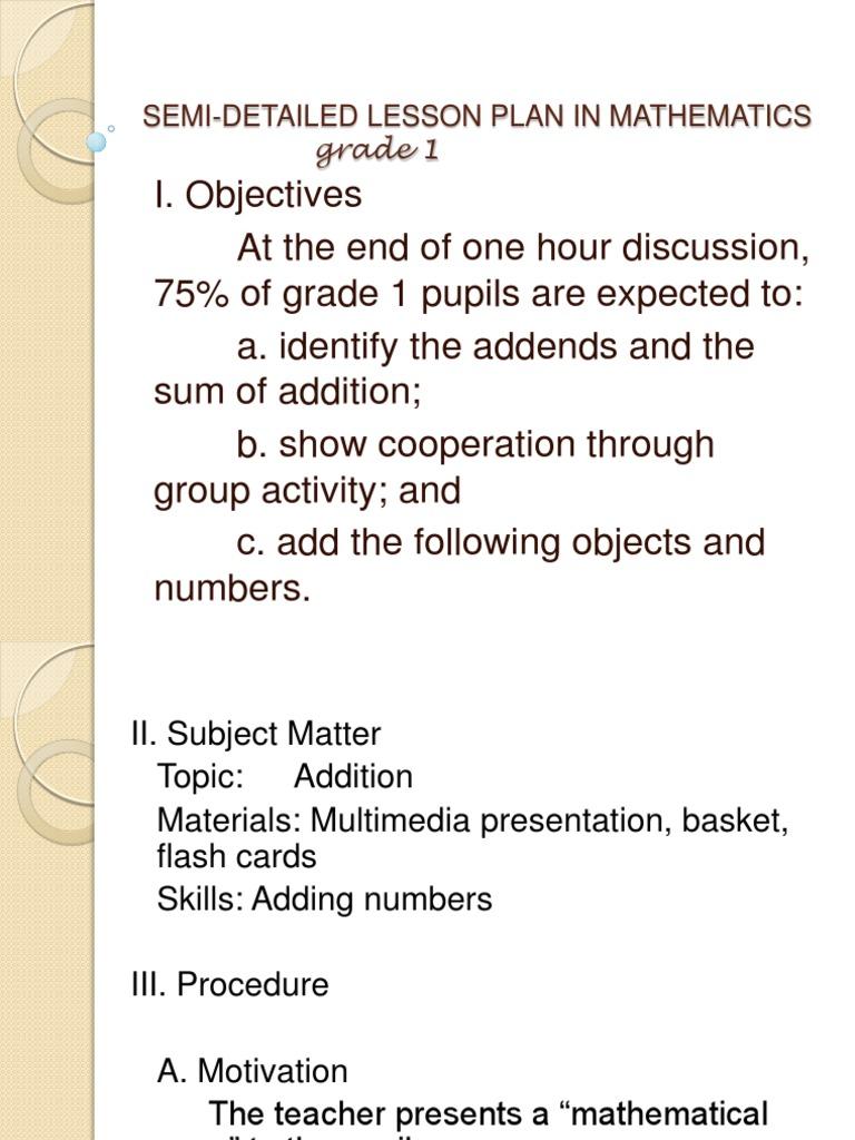Semi-Detailed Lesson Plan in Mathematics