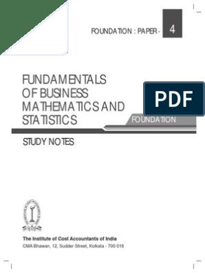 Fundamentals Of Business Mathematics And Statistics: Study Notes