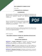 ACUERDO GUBERNATIVO 20-2004 REGLAMENTO ORGÁNICO INTERNO DEL MINISTERIO DE EDUCACIÓN