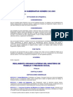 ACUERDO GUBERNATIVO 242-2003 REGLAMENTO ORGANICO INTERNO DEL MINISTERIO DE TRABAJO Y PREVISIÓN SOCIAL