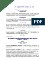 Acuerdo Gubernativo 620-2003 to Organico Interno Del Ministerio de Energia y Minas