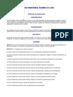 ACUERDO Ministerial 073-2000 Sistema rio