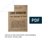 La Auto intoxicasión causa etíológica del cancer