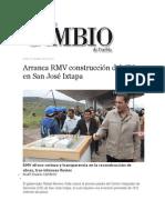 07-10-2013 Diario Matutino Cambio de Puebla - Arranca RMV construcción del CIS en San José Ixtapa