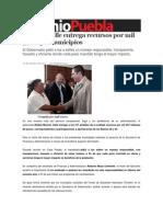 07-10-2013 Sexenio Puebla - Moreno Valle Entrega Recursos Por Mil 57 Mdp a Municipios