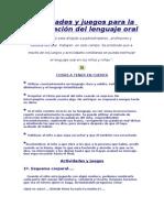 Actividades Lenguaje Oral