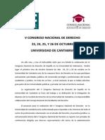 Presentacion v Congreso Nacional de Derecho