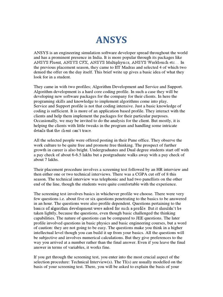 Ansys | Computer Programming | Postgraduate Education