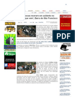 SiteBarra » Duas pessoas morrem em acidente no 'Espera que vem', Barra de São Francisco