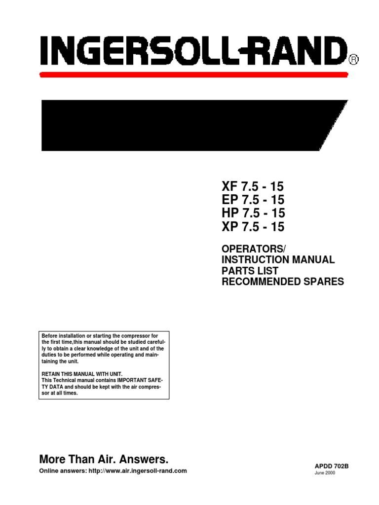 manual de compresor ingersoll rand | gas compressor | valve | free ...  scribd