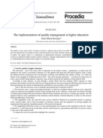 The Implementation of Quality Management in Higher Education