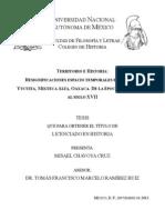Misael Chavoya Cruz. Territorio e Historia. Resignificaciones espacio temporales en San Juan Yucuita, Mixteca Alta, Oaxaca. De la época prehispánica al siglo XVII.