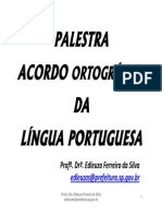 Palestra Nova Ortografia Da Lingua Portuguesa