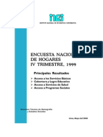 Encuesta en hogares 1999 Perú
