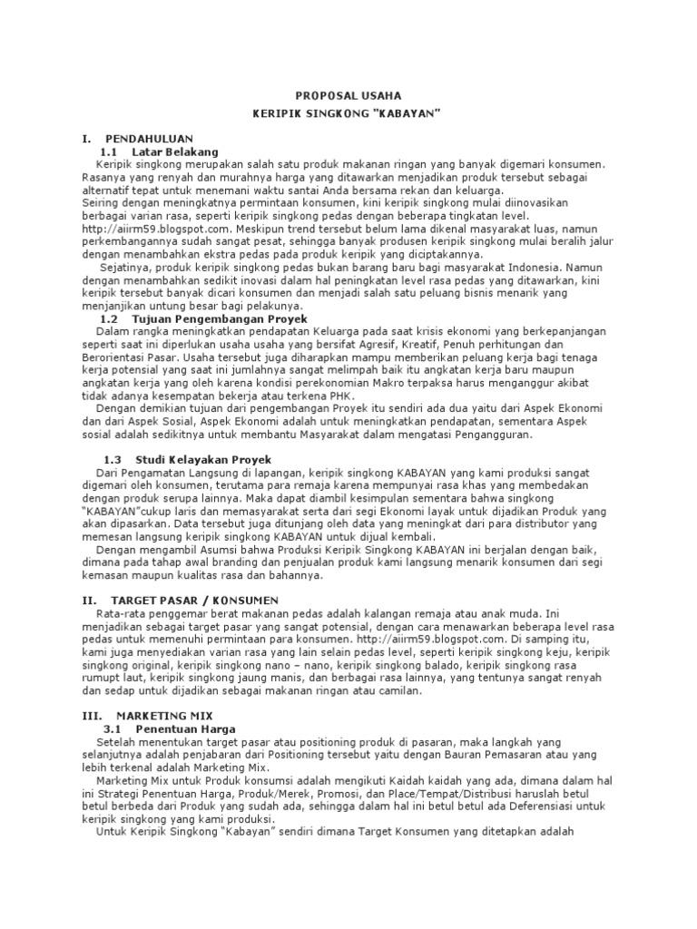 Contoh Proposal Usaha Keripik Singkong Balado Berbagi Contoh Proposal