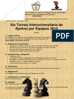 5to Torneo Interuniversitario de Ajedrez Por Equipos 2013