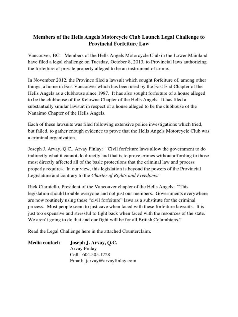 Hells Angels court challenge | Asset Forfeiture | Crimes