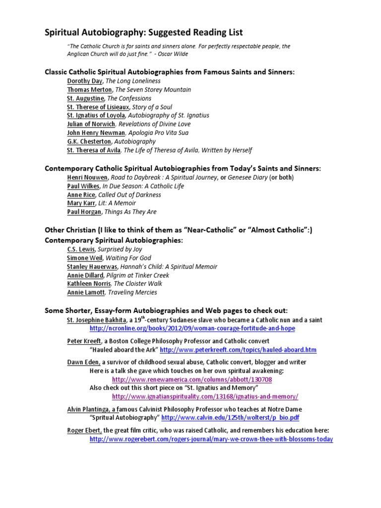 catholic spiritual autobiography reading list | religious belief and