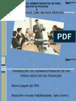 Transição do Administrador de rh para gestor de pessoas