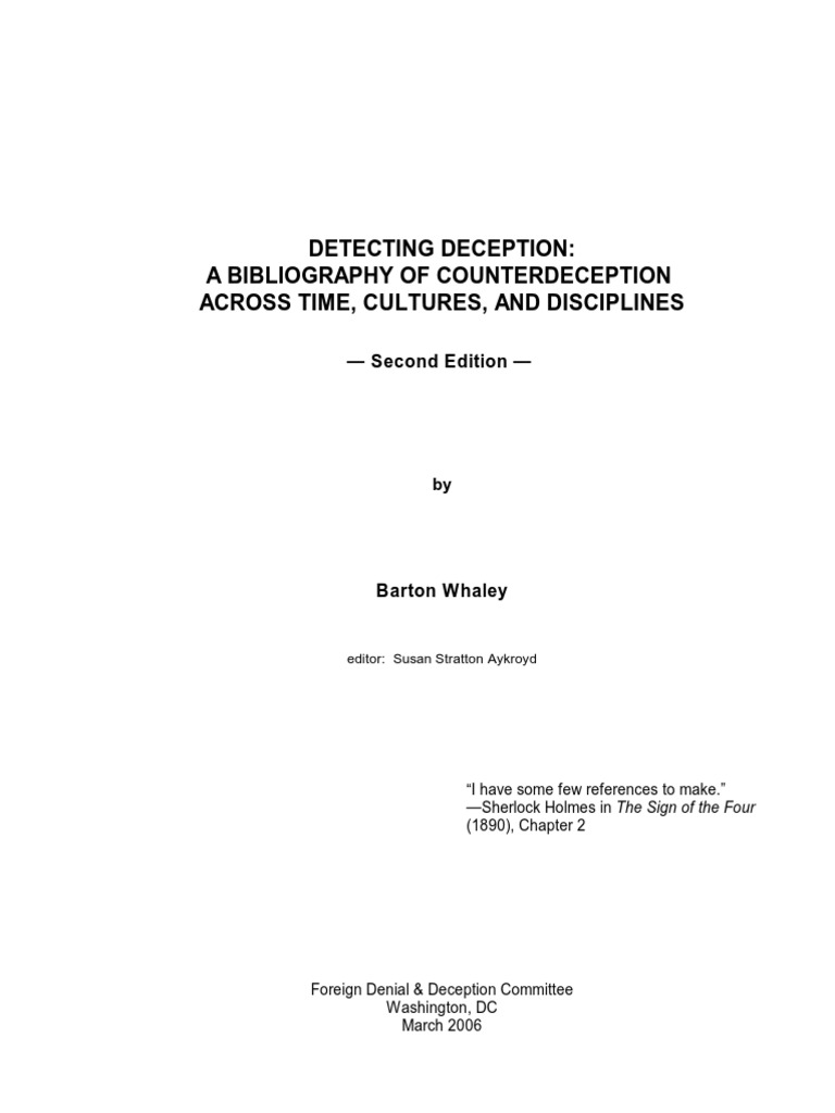 Detecting deceptiona bibliography of counterdeception across time detecting deceptiona bibliography of counterdeception across time cultures and disciplines intelligence analysis deception fandeluxe Gallery
