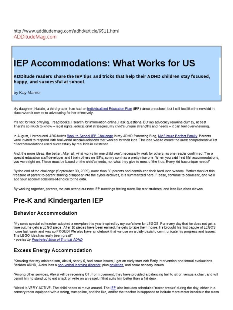 IEP Accommodations   Individualized Education Program ...