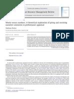 Words Versus Numbers in Performance Appraisal