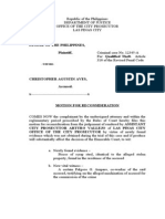 Motion for Reconsideration (Lack of Prob. Cause)