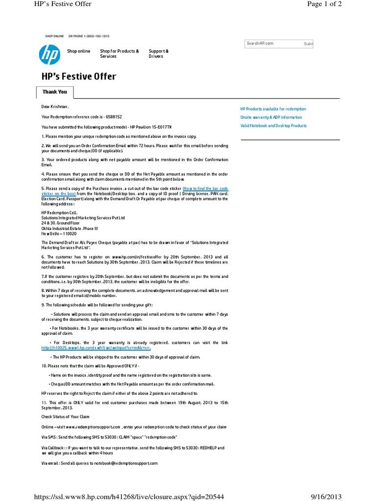 HP Redemption pdf | Hewlett Packard | Cheque