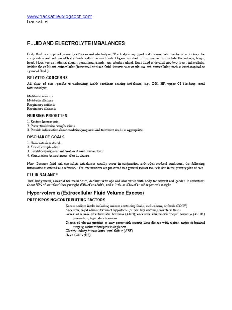 """Nursing Care Plan for """"Fluid and Electrolyte Imbalances ..."""