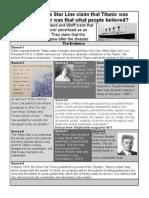 Was Titanic Unsinkable Sheet
