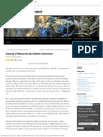 Scarcity of Resources and Islamic Economics _ Islamic Economics Project