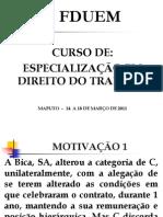Curso de  ESPECIALIZAÇÃO EM DT - FDUEM - 14 a 18.03.11 - 2