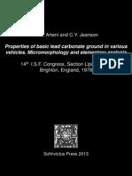 SCArteni&CYJeanson Propertiesofbasicleadcarbonategroundinvariousvehicles.Micromorphologyandelementaryanalysis