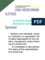 Sponsors Responcibilities