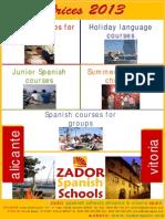 Spanish Courses Prices Zador Spain Language Schools_2013