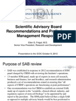 CIRM Scientific Advisory Board Recommendations