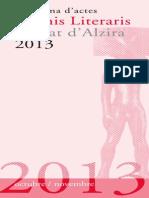 Programa Actes Premis Literaris Ciutat d'Alzira 2013