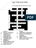 Crossword Puzzle TION and SION Suffixes