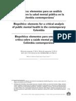 Biopolítica, elementos para un análisis crítico sobre la salud mental
