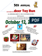 5th ANNUAL Reindeer Toy Run, Saturday, October 12th, 2013, American Legion Marne Post 13,  24741 W Renwick Rd, Plainfield IL 60544, $15.00 per person/driver $5.00 per passenger, Plus New Unwrapped Toy