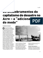 "Os desdobramentos do capitalismo de desastre no Acre – a ""adicionalidade do medo"""