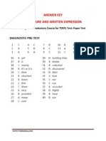 Answer Key Pre Test Structure