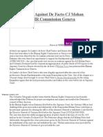 Customs Case Against de Facto CJ Mohan Pieris Before HR Commission Geneva