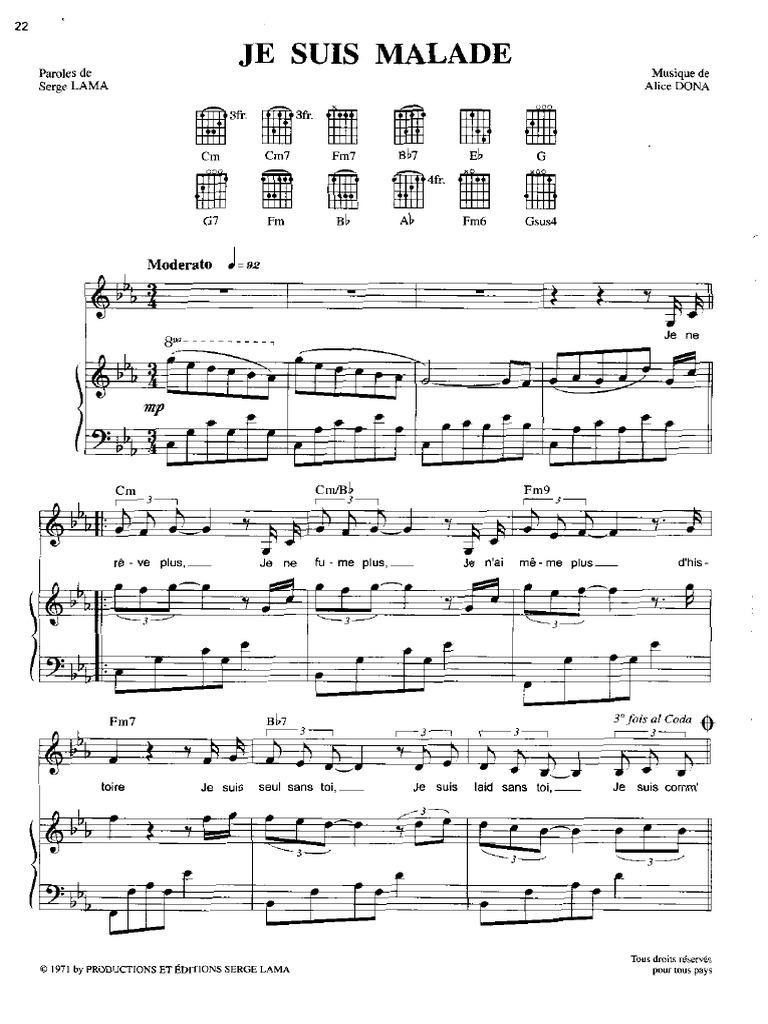 Partition piano je suis malade - Je suis malade chanson ...