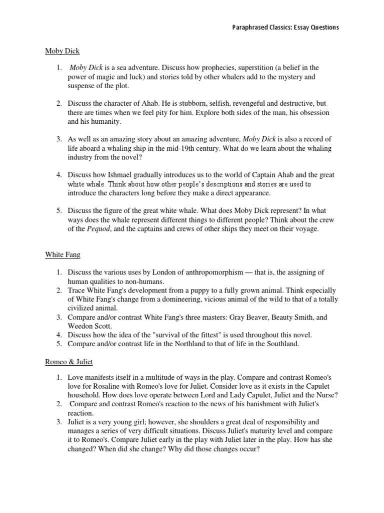 Simple Essays For High School Students  College English Essay Topics also Global Warming Essay Thesis Essay Questions  Moby Dick  Characters In Romeo And Juliet Thesis Statement Examples For Narrative Essays